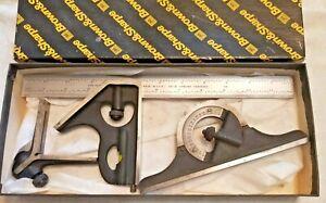 "NOS Brown & Sharpe 599-9400-1204 4 Pc 12"" 4R Combination Square Set"