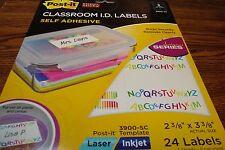 #24 Post-it Super Sticky Designer CLASSROOM I.D. Labels Laser/Inkjet