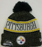 Pittsburgh Steelers Black+Gold Knit Cap Hat Beanie NFL Sports LOGO~Fleece Lining