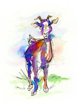 Goat Watercolor Painting Animal Art Print by Bill Stork