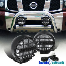 "Super 4x4 Off Road 6"" Round Black Fog Light Kit W/ Wires+Bulbs+Switch Suv Rv"