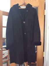 Black shearling 3/4 length coat with Hood size M/L women