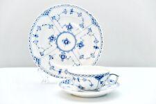 New ListingRoyal Copenhagen Blue Fluted Half Lace Tea Cup #525 & Full Lace Plate 573 Trio
