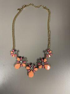 J. Crew Statement Necklace Crystals Enamel Type Flowers Orange Pink Choker Gold