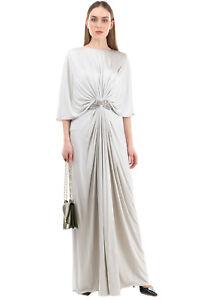 RRP €3935 REEM ACRA NEW YORK Satin Silk Draped Gown Size 4 / S Rhinestone