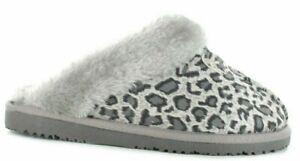 Ladies Ella Jill Faux Fur Grey Leopard Print Home Spa Memory Foam Slippers