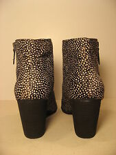 BP Black and White Spotted Calf Hair Leather Ankle Boots - Size 12 M - New