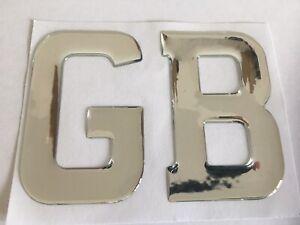 GB LETTERS GREAT BRITAIN UK DOMED RESIN CAR BADGES BOOT CARAVAN NUM PLATE CHROME