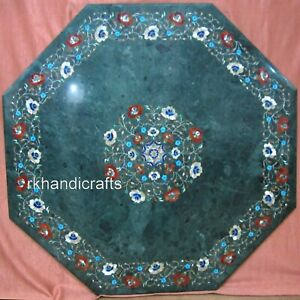 36 Inches Marble Dining Table Top with Pietra Dura Art Meeting Table for Office