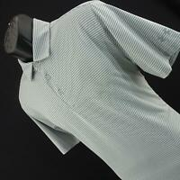 Mens Under Amour UA Heatgear Gray Striped Athletic Golf Polo Shirt Size Medium M