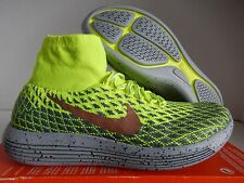 MENS NIKE LUNAREPIC FLYKNIT SHIELD VOLT-RED BRONZE-DARK GREY SZ 8.5 [849664-700]