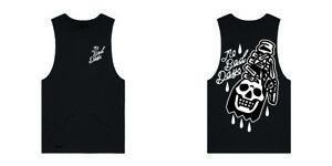 Hourless Sleeveless Tee (T-Shirt) Mens S M L XL XXL BLACK Afends RVCA Tattoo