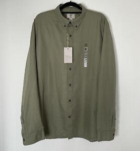 TIMBERLAND Khaki Green Long Sleeve Slim Fit Shirt XXL 2XL Linen Blend NWT