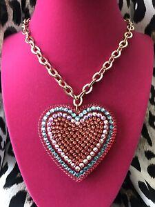 "Luly Lu ""Layla"" Vintage HUGE Coral Pink Turquoise Blue Heart Swarovski Necklace"