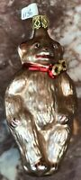 """5.5""""  CHRISTMAS bear Bow ORNAMENT HAND painted BLOWN  glass PreOwned"""