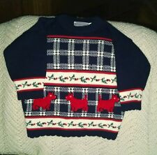 Childs Toddler Girls 2T Ugly Christmas Sweater Plaid Navy Red Scotties Holly