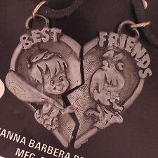 HANNA-BARBERA THE FLINTSTONES PEBBLES BAM BAM Necklace HEART SET LOT 6147