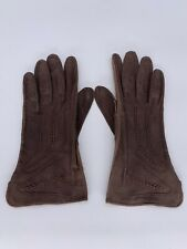 Unbranded Vintage Women's Brown Leather Gloves, Made in France Size 7.5, Xs / S