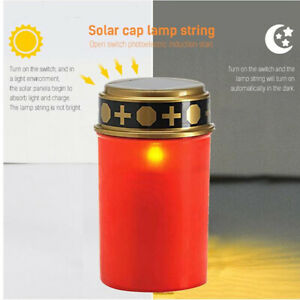 Solar Energy LED Grave Light Waterproof Electronic Glowing Candle Lamp Camping