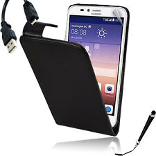 Black Leather Flip Case Cover for Huawei Y625 + Stylus & Cable