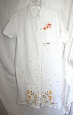 WOMEN'S WHITE EMBROIDERED FLOWERS BUTTON FRONT SHORT SLEEVE BOHO DAY DRESS SZ XL