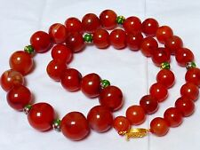 VINTAGE / ANTIQUE CHINESE CARNELIAN LARGE BEAD NECKLACE, 208 GRAMS