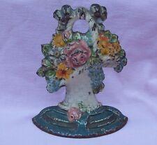 Vintage Antique 30s Hubley 7 Cast Iron DoorStop Bookend Flower Basket Orig Paint