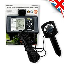 Automatic WATERING TIMER + MOISTURE SENSOR Garden Water Controller Program 3-Way