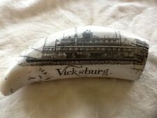 Vicksburg Miss. Carved Whale Tooth Replica Paddle Boat/ Pistols / Sword / Eagle