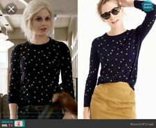 NWOT J.CREW TIPPI SWEATER IN EMBROIDERED STARS XS F8261 NAVY SOLD OUT HTF