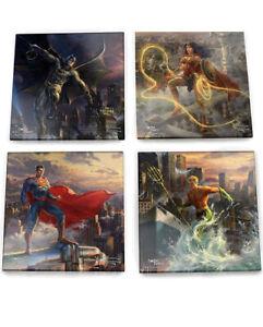DC Comics – Justice League – Thomas Kinkade –– Set of 4 Glass Coasters