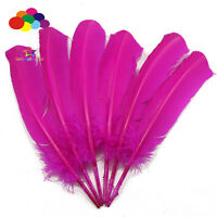 10-100pcs Pure Rose red 10-12inch Turkey Quill Feathers for Fashion Decorations