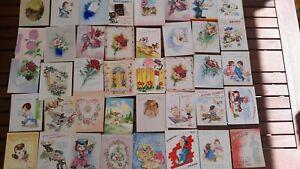 Vintage 1940s LOT 56 GREETING CARDS UNUSED Original Art Craft Graphics