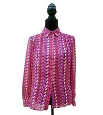 Vintage St. John Designer Button Up Blouse Chevron Pink Print Medium Retro Mod