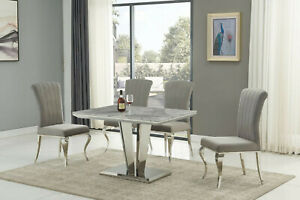 Grey marble with stainless steel dining table and 4 grey velvet chairs