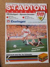 UEFA CUP / EUROLEAGUE Programm Halbfinale VfB Stuttgart - Dynamo Dresden 1988/89