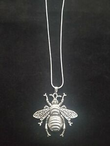 Bee Necklace Silver Pendant on Sterling Silver Chain Honeybee