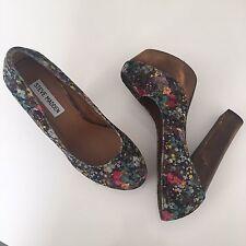 Steve Madden 'Cheeky' Floral Velvet Wood Heel Platforms VLV Pinup, Size 7.5