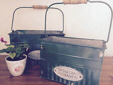Shabby Chic Set of 2 Deep Rectangular Handled Metal Painted Plant Trugs