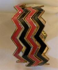 Set of 4 Enamel Bangle Bracelets 2 Red 2 Black Zig Zag Shaped Perfect Stackers