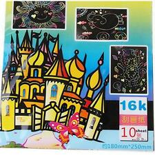 10 Sheet Magic Colorful Scratch Art Paper Cards Scraping Drawing With Stick D