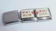 MUM DAD Dbl Italian Charm + 1x Genuine Nomination Classic Link I LOVE MY Parents