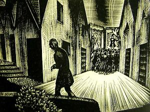 Lynd Ward 1930 MAN WALKING AWAY FROM A CROWD in VILLAGE Art Deco Print Matted