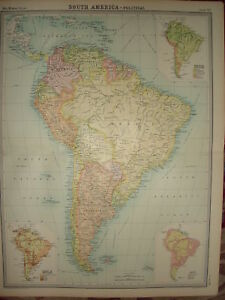 "1920 LARGE MAP ~ SOUTH AMERICA ~ POLITICAL ~ 23"" x 18"""