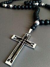 Herren Halskette Rosenkranz Kreuz Anhänger Edelstein Onyx perlen Schmuck 2017