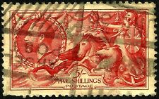 1934 SEAHORSE, SG 451, 5/- RED, RE-ENGRAVED, USED, LOT UK 7