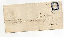 ANTICHI STATI 1858 SARDEGNA FRANCOBOLLO DA 20 C. INDACO SU BUSTA D05726