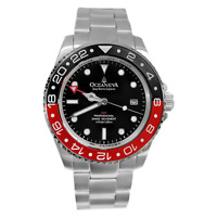 Oceaneva Men's Deep Marine Explorer GMT 1250M Pro Diver Watch Red and Black
