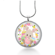 Easter Bunny Necklace with Flowers - Easter Jewelry - Handmade - Art Pendant