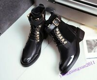Chic Womens Shoes Genuine Leather Side Zip Buckle Black Ankle Boots Cuban Heels